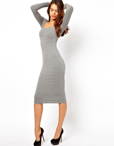 ASOS Midi Body-Conscious Dress With Square Neck And Long Sleeves