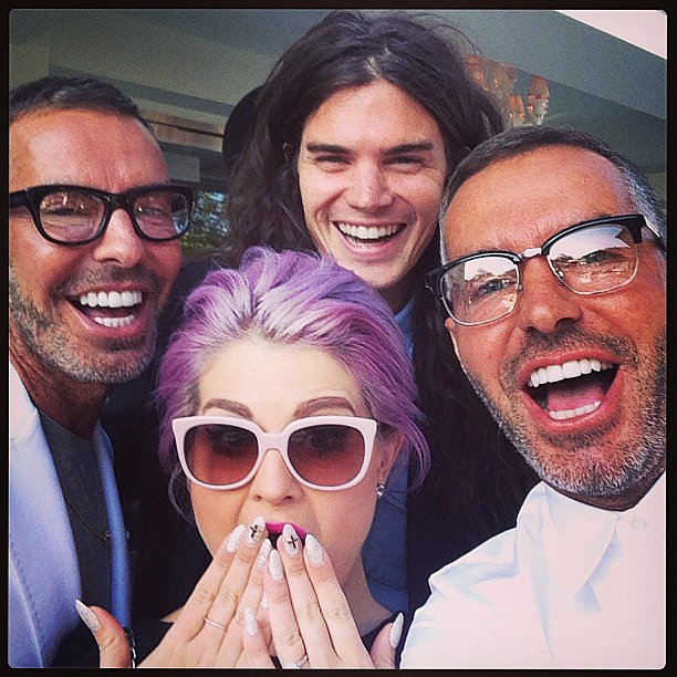 Kelly Osbourne and Matthew Mosshart posed with the Dsquared2 designers. Source: Instagram user kellyosbourne