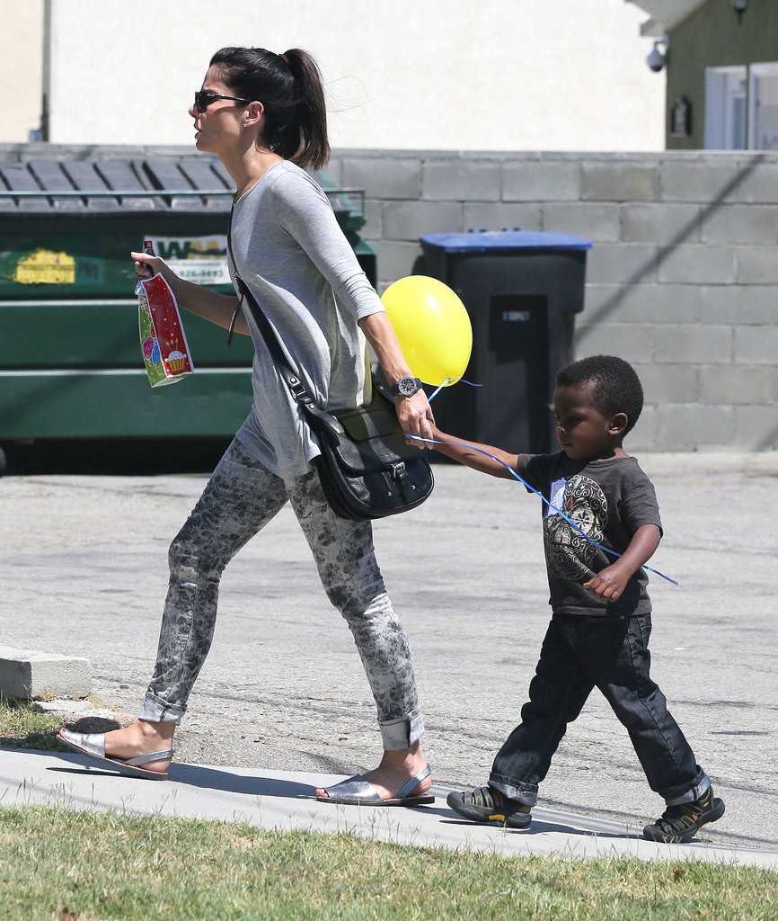 Sandra Bullock and Little Louis Make Adorable Birthday Buds