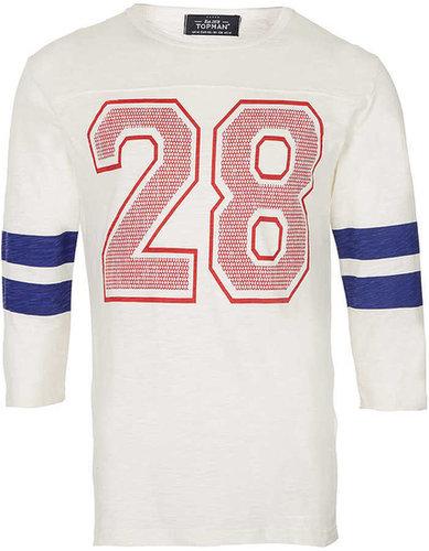 White Varsity Stripe 28 3/4 Sleeve T-Shirt