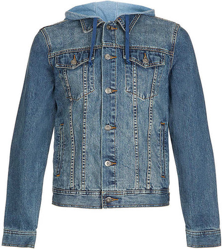 Bleach Denim Jersey Hood Western Jacket