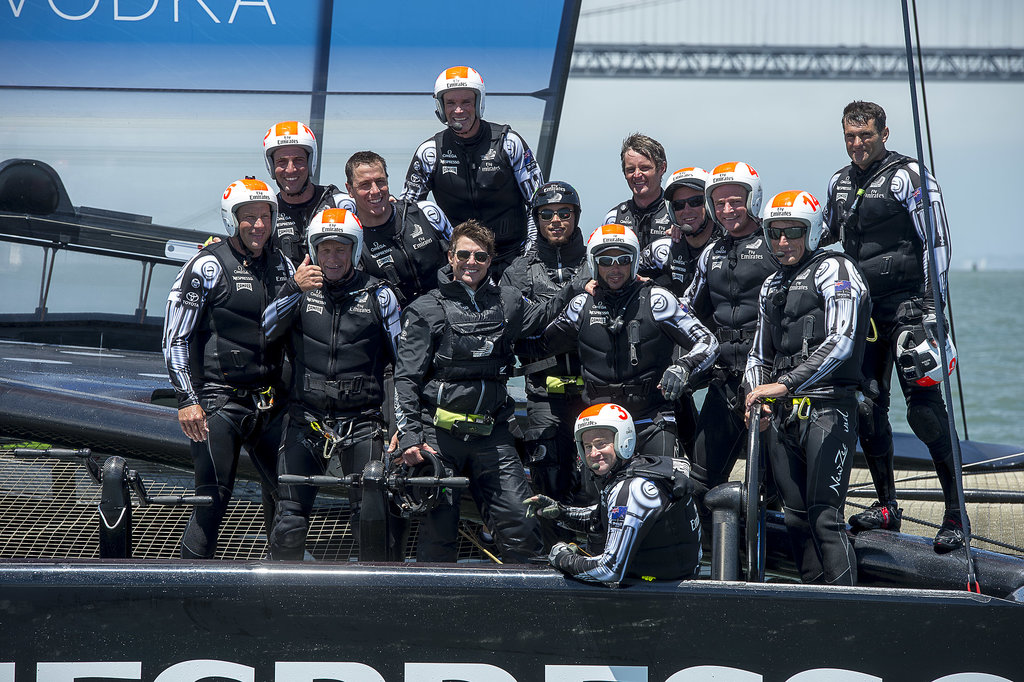 Tom Cruise posed with the Emirates Team New Zealand. Source: Chris Cameron/Emirates Team New Zealand