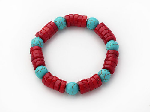 Assorted Wheel Shape Red Coral and Round Turquoise Stretch BraceletAssorted Wheel Shape Red Coral and Round Turquoise Stretch Br