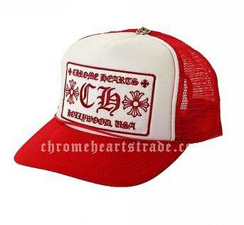 """Cheap Red Chrome Hearts """"CH"""" Trucker Mesh Cap"""