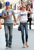 Adam Levine and his new fiancée Behati Prinsloo held hands while checking out real estate together in NYC.