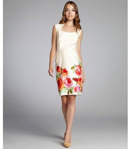 Tahari ASL beige and coral floral queen anne neckline dress