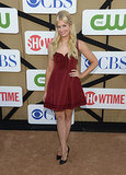 Beth Behrs looked equal parts flirty and sweet in a red fit-and-flare minidress and black pumps.