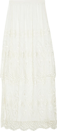 The Row Leyerton embroidered tulle skirt