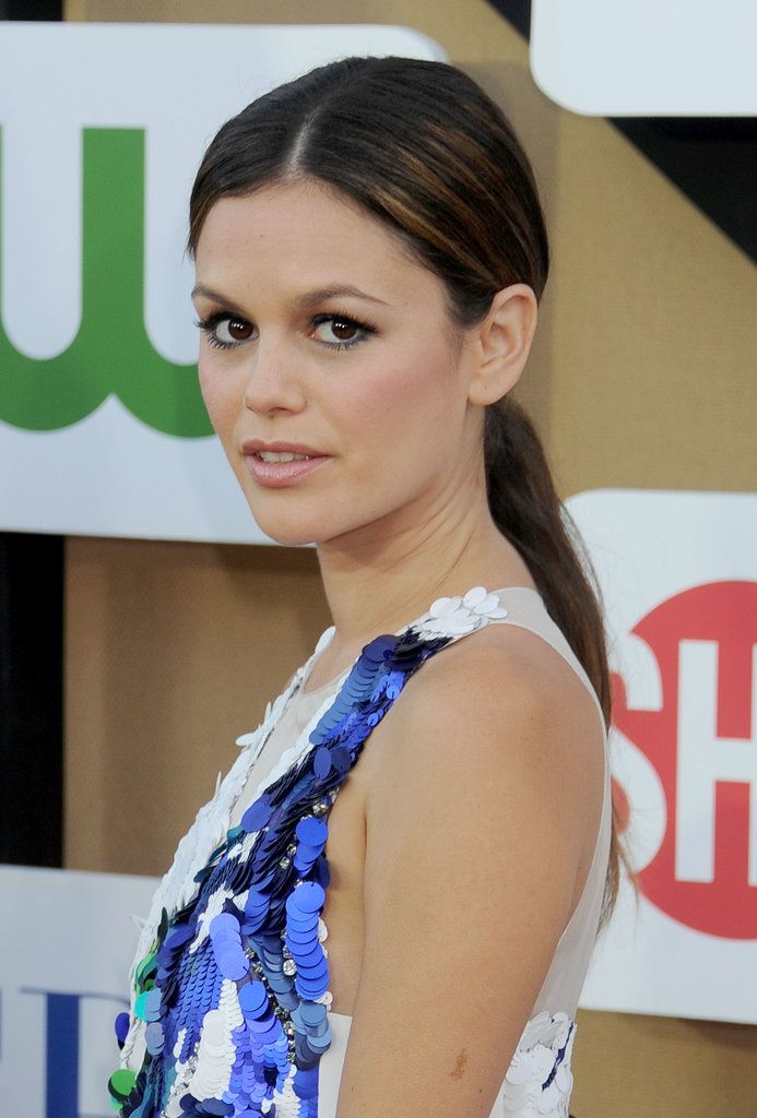 Rachel Bilson's navy-blue eyeliner matched her sequined dress, and her ponytail was simple and sleek.