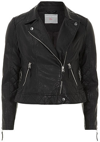 Petite black leather look quilted biker