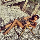 Chanel Iman shared this sexy snap while lounging on the beach in a printed bikini. Source: Instagram user chaneliman