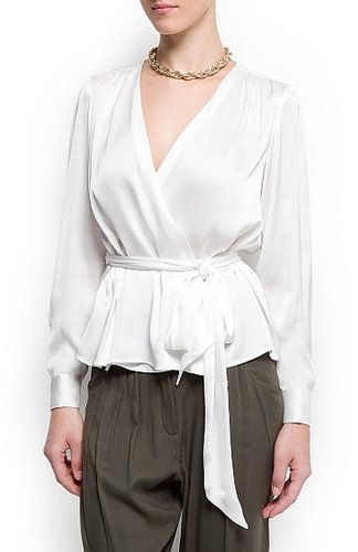Pleated wrap blouse