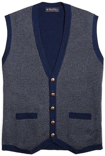 Merino Herringbone Button-Down Vest