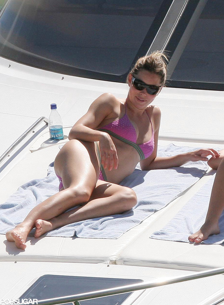 Jessica Biel hung out with a friend in a hot pink bikini on her Puerto Rican getaway in January 2006.