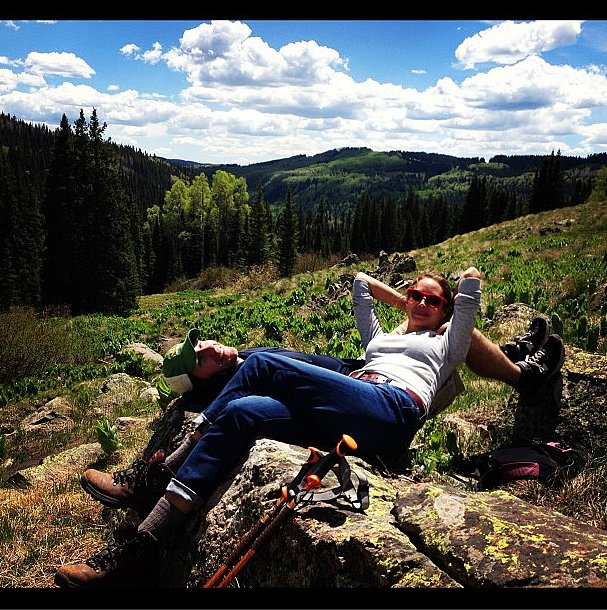 Christy Turlington and husband Edward Burns stopped for a break while hiking.  Source: Instagram user cturlington
