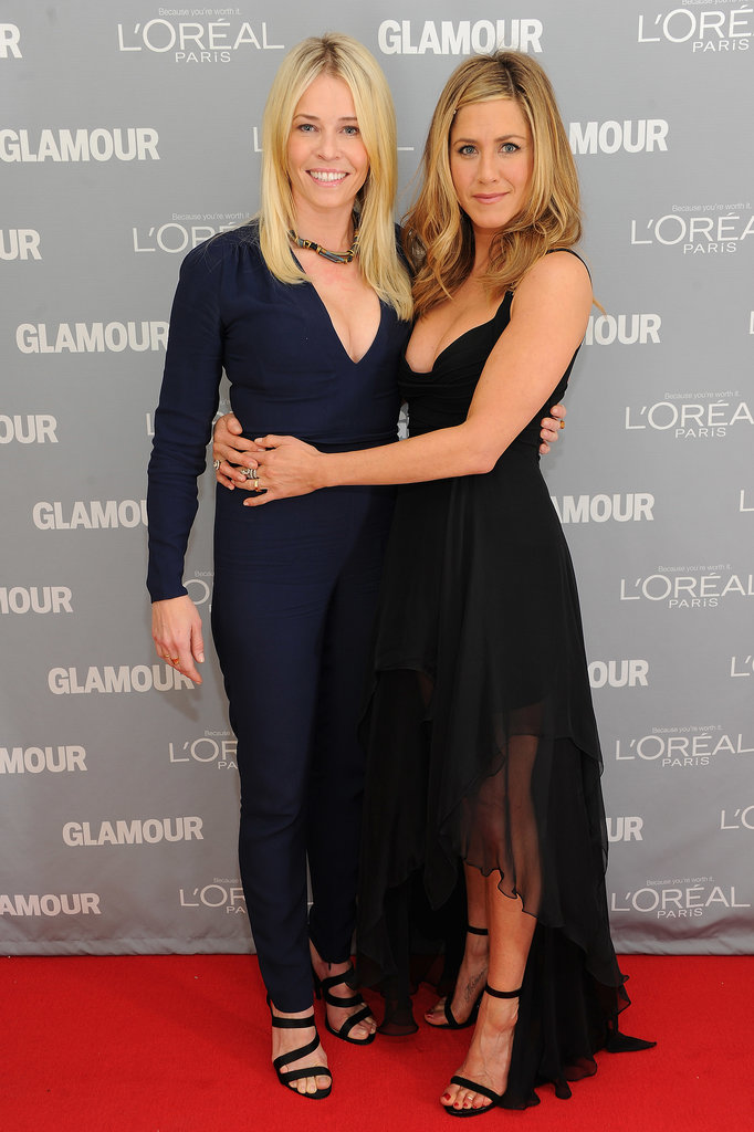 Besties Chelsea Handler and Jennifer Aniston offered a double dose of glamour in Stella McCartney and Versace, respectively, for Glamour's 2011 Women of the Year Awards.
