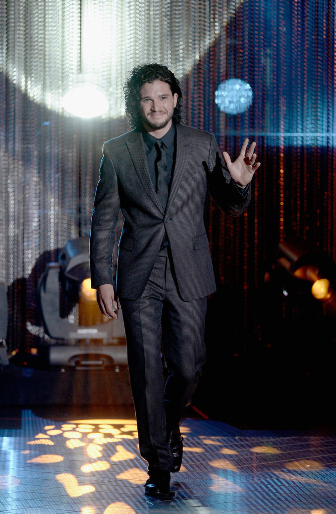 Kit Harington, who plays Jon Snow on Game of Thrones, smiled when he received the Actor of the Year Award.