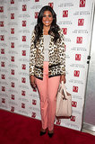 Rachel Roy accented her pastel pants with a leopard-print topper to screen The Butler.