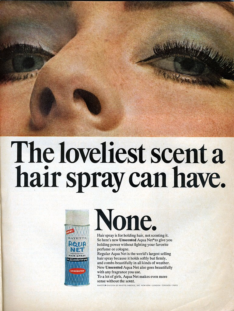 Aqua Net was a hair staple of the '80s. This campaign outlines the benefits of a scent-free spritz. Source: Flickr user Nesster