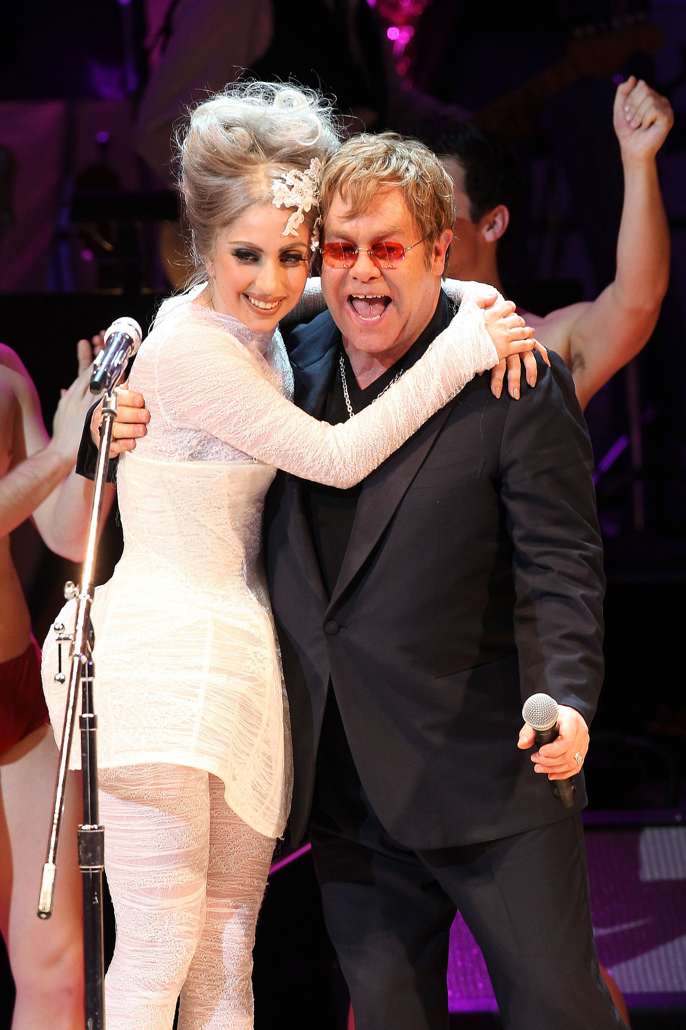 "When Elton John and his husband, David Furnish, welcomed their son Zachary in 2011, they asked Lady Gaga to act as his godmother. The couple confirmed the news in an interview with Barbara Walters, saying, ""When you get to the real person under there, there's a real simple person under there who loves her parents."" Gaga has clearly done a good job with the role, as Elton and David gave her the title for their second son, Elijah, who was born in April 2013. Elton"