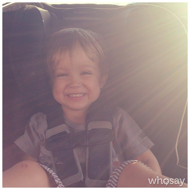 Finn Warren was a happy passenger during mama Autumn Reeser's car-testing excursion. Source: Instagram user autumn_reeser
