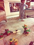 Selma Blair played Lego Duplos with her early riser, Arthur Saint. Source: Twitter user SelmaBlair