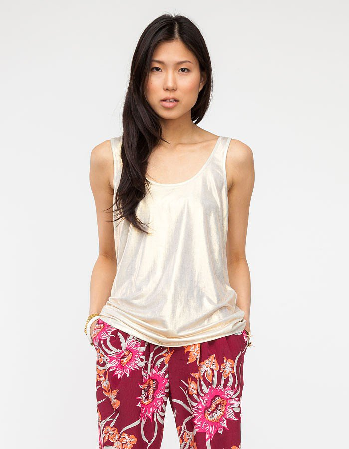 Wear this flimsy metallic tank ($38) under blazers and sweaters for just a pop of something special.