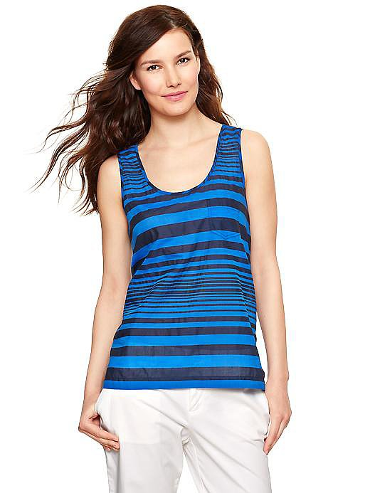 Summery stripes can work past Labor Day. Imagine this Gap top ($9, originally $40) with black wide-leg trousers and a sharp blazer.