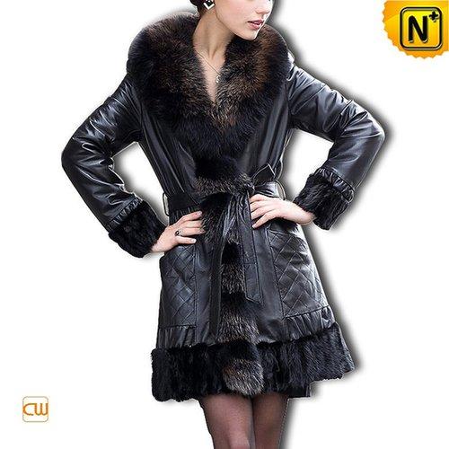 Sheepskin Fur Trim Coat CW610027 - cwmalls.com
