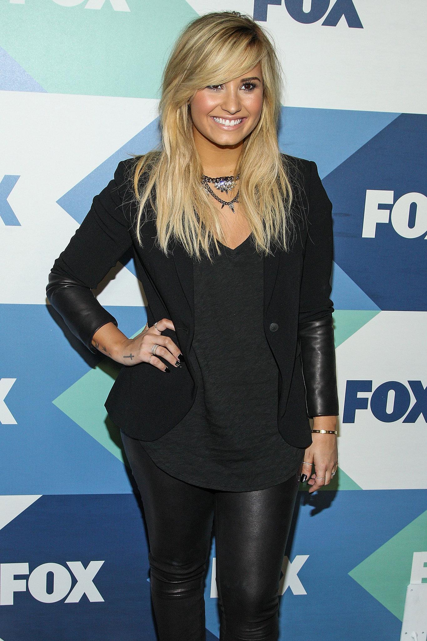 Demi Lovato wore all black to the Fox All-Star Party in LA.