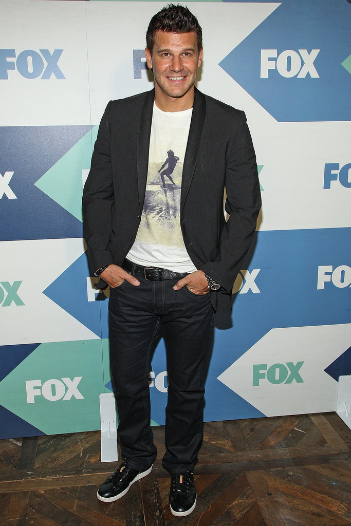 David Boreanaz wore a T-shirt and a blazer to the Fox All-Star Party for the Summer TCA Press Tour.
