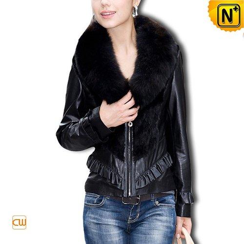 Women Sheepskin Leather Coat CW610028 - cwmalls.com