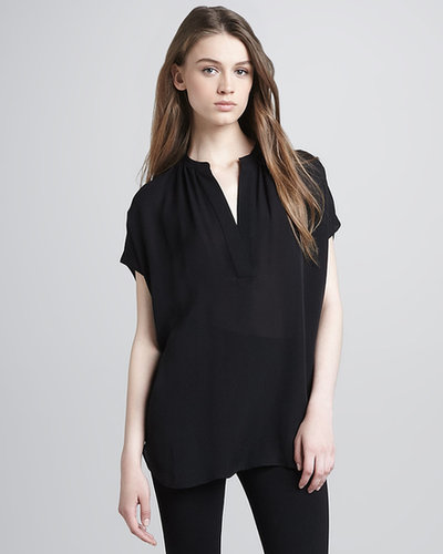 Vince Silk Cap-Sleeve Blouse