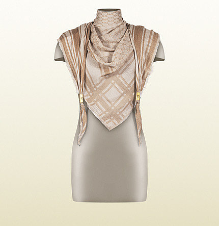 Light Brown And Dark Brown Shawl With Branded Metal Detail