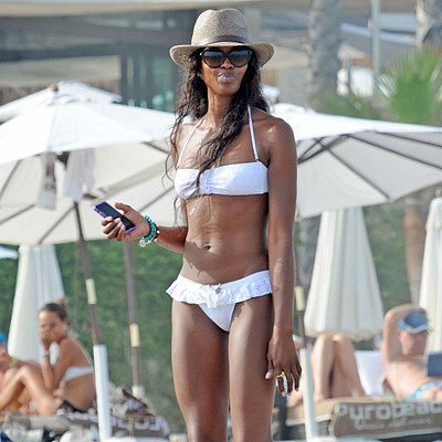 Naomi Campbell Wears a White Bikini in Marbella
