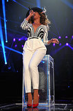 Beyoncé rocked black-and-white Gucci — with a touch of red on her heels — while belting out a song on stage.