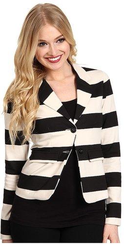kensie - Striped Ponte Jacket (Black Combo) - Apparel