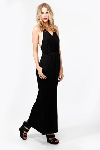 Deep-V Cross Back Maxi Dress