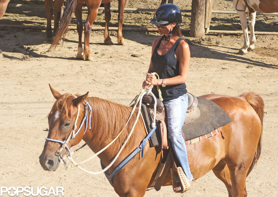 Victoria Beckham went horseback riding with her family in LA.