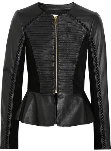 ALICE by Temperley Giovanni suede-paneled leather peplum jacket