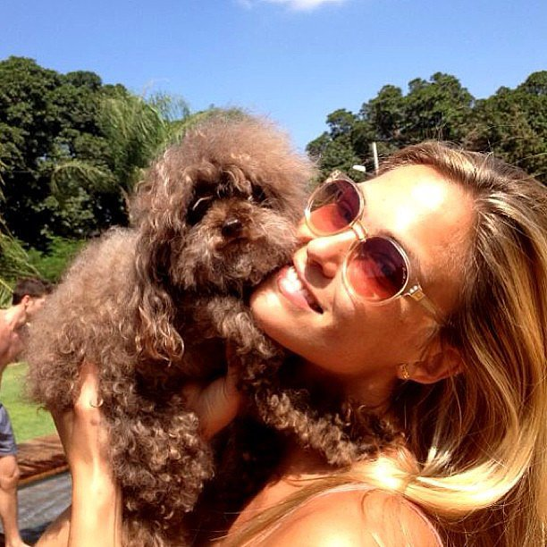 Bar Refaeli snuggled with her dog, Pucci. Source: Instagram user barrefaeli