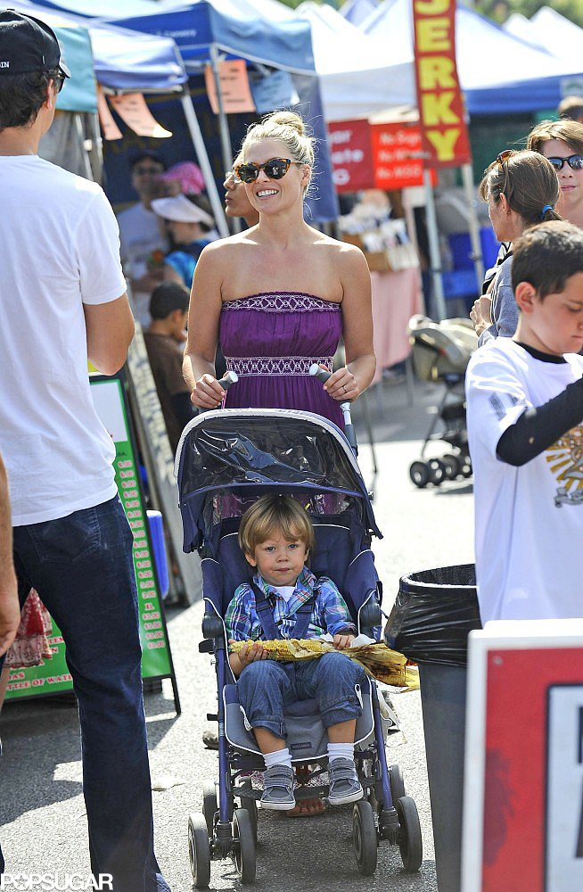 Ali Larter checked out an LA farmers market with her son, Theodore, on Sunday.