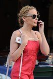 While on vacation, Kylie Minogue showed off a beach-perfect hairstyle: a breezy side braid that twisted into a low bun.