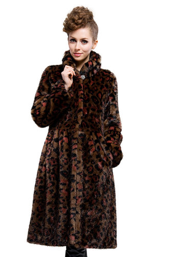 good quality faux mink fur leopard grain collar long coat free shipping