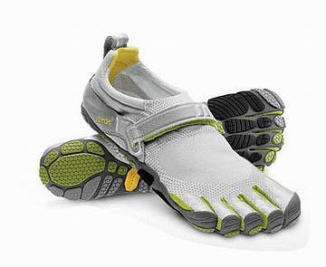 light green and grey vibram 5 fingers bikila running shoe