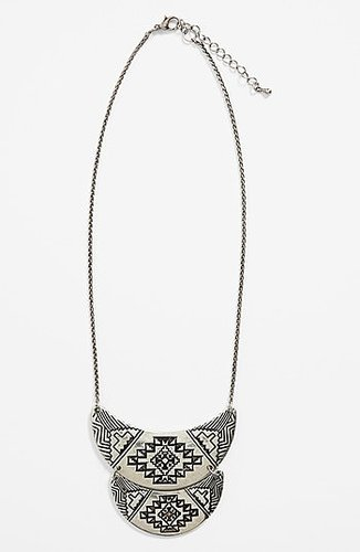 South Sun 'Half Moon Aztec' Necklace Tarnished Silver