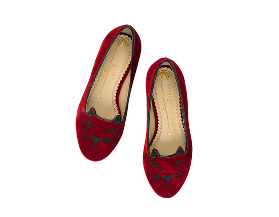 Charlotte Olympia Kitty flats ($295) in burgundy.