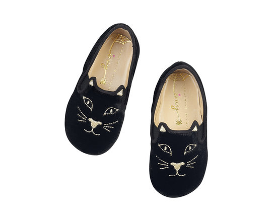 Charlotte Olympia Kitten slip-on shoes ($125) in black.