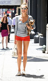 Australian stunner Jessica Hart often totes her Yorkshire terrier, Charlie, around Manhattan.