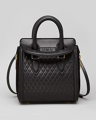 Alexander McQueen Heroine Mini Quilted Satchel Bag, Black